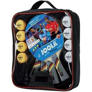 JOOLA Tischtennis Team School Set 4x Tischtennisschläger 8x TT Bälle inkl Tasche