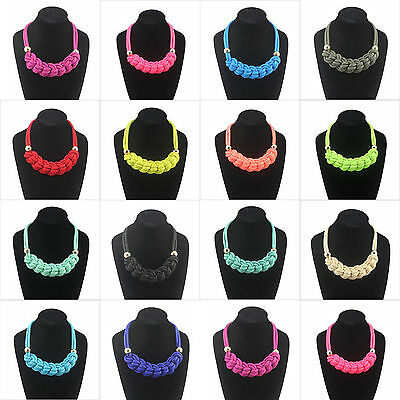 Occident Style Beautiful Handmade Woven Cotton Rope Fluorescent Color Necklace