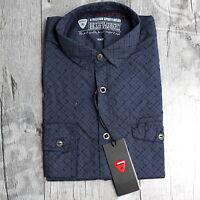 STRELLSON Herren Gr. M Langarm Slim Fit Business Hemd Shirt Navy Blau A2414