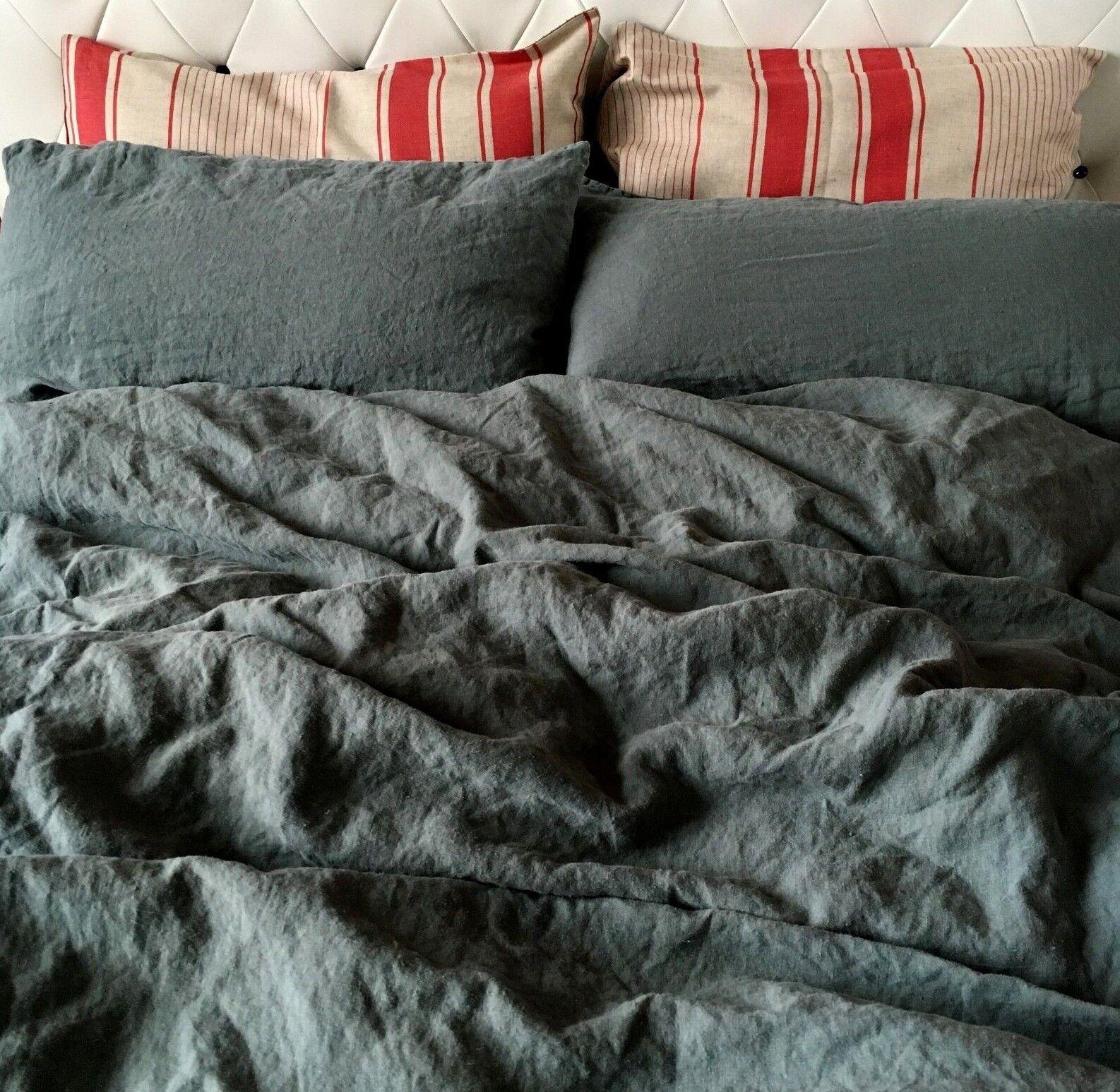 LINO biancheria da letto-Set 100% Lino  Stonewashed  (200x200, 2 St. 50x70 cm) petrolio