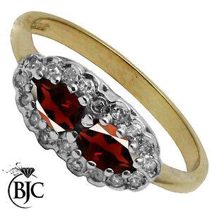 BJC-9kt-Oro-giallo-Granato-amp-Diamante-A-Grappolo-Abito-anello-misure-L-R125