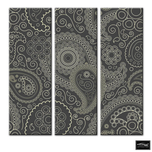 Abstract Paisley Floral Pattern BOX FRAMED CANVAS ART Picture HDR 280gsm