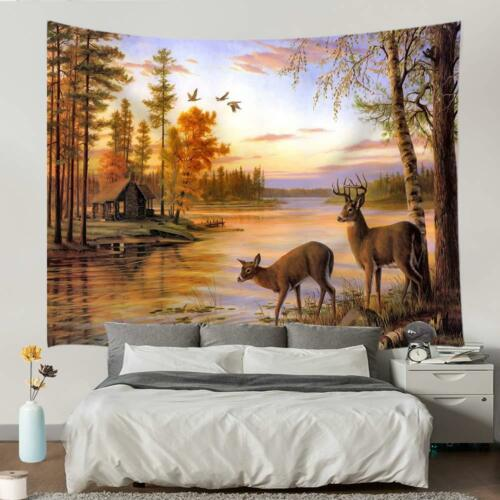 Elk Tapestry Animals Theme Home Wall Hanging Decor Deer Safair In Stream River