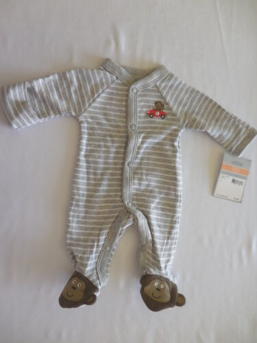 NWT Carter/'s Monkey Racing Car Gray Striped Footed Romper Sleeper Preemie