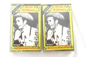 Lot-of-2-Hank-Williams-40-Greatest-Hits-Vol-1-and-2-Cassette-Tape-Vtg-Country