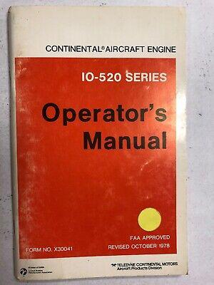 Continental IO-520 Aircraft Engine Operators Manual X30041