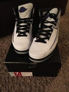 check out d37cf 9f513 Details about Nike Air Jordan 2 II Retro Dark Concord 395718-153 BG White  Cement Grey 7Y