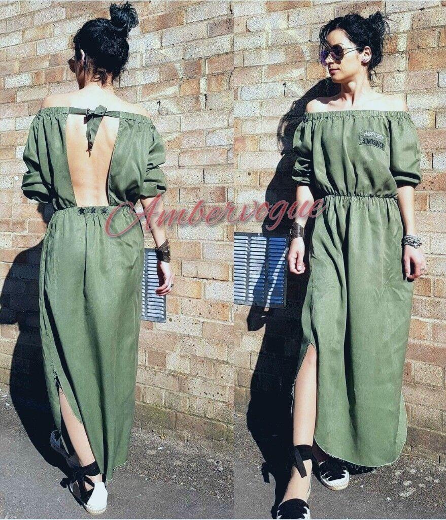 ZARA NEW GREEN KHAKI LONG DRESS SIZE L 12