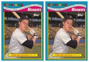 (2) 1988 Topps Toys R' Us Rookies Baseball 1 Todd Benzinger Lot Boston Red Sox