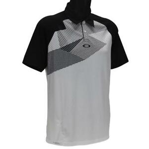 Oakley-Extend-Polo-Mens-S-Small-Blackout-White-Golf-Regular-Fit-Tee-Shirt