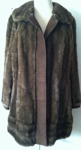 VINTAGE Leather of London By Lillie Ann-Faux Fur a