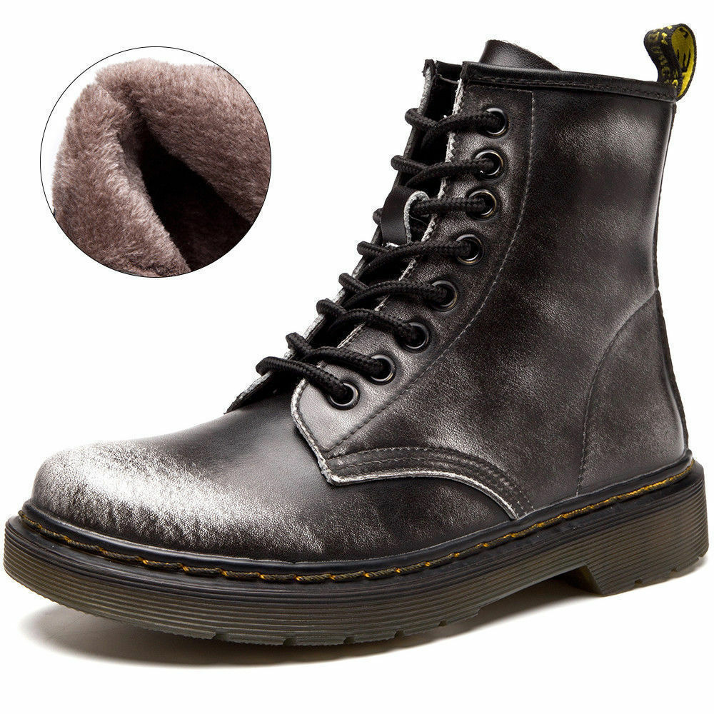 Mens Winter Artificial Casual Ankle Short Boots Warm Fur Lined Lace Up Snow shoes