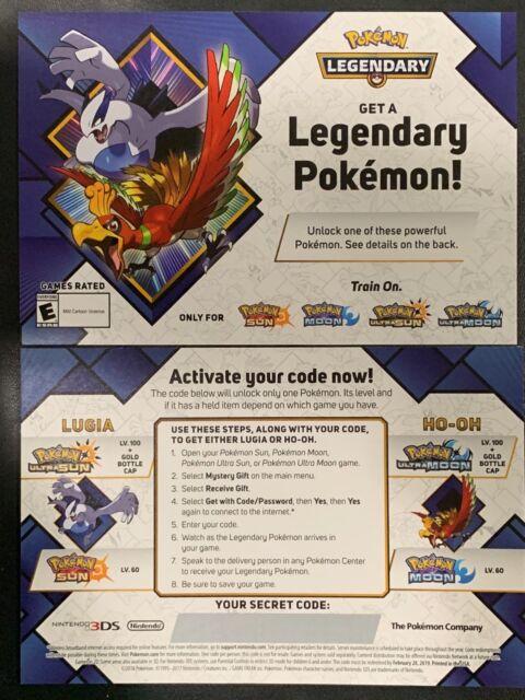 GameStop Pokemon LVL 100 Lugia Ho-oh Ultra Sun Moon 2018 Event Card W/ Code