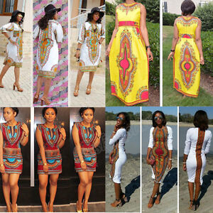 d2f54a49e42f Image is loading Summer-Women-Traditional-African-Print-Dress-Casual -Clubwear-