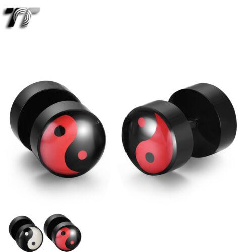 BU06 NEW TT 8//10mm Ying /& Yang Epoxy UV Acrylic Fake Ear Plug Earrings