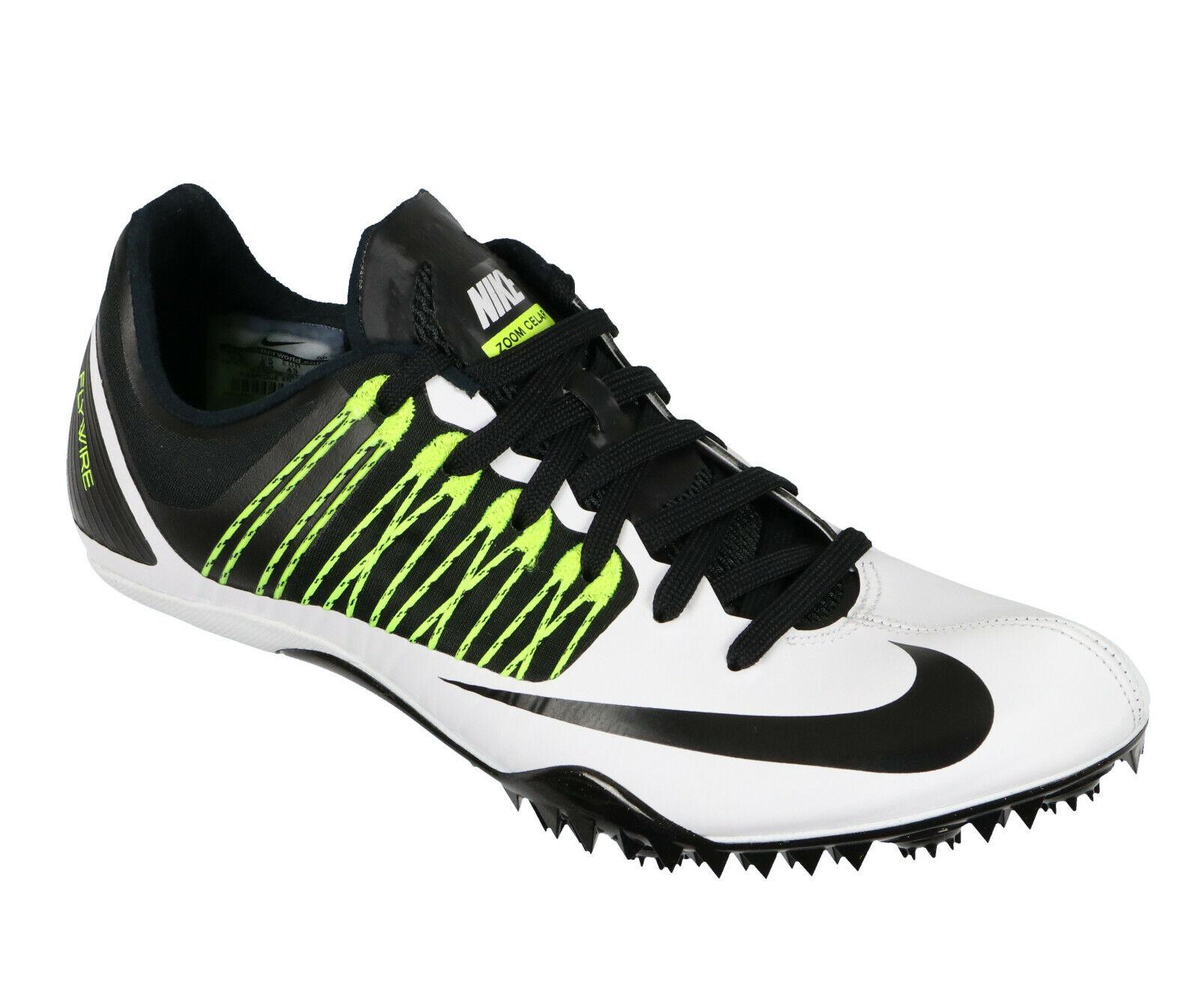 NIKE Zoom Celar 5 Track Field Spikes sz 9.5 White Black Volt Cleats Training
