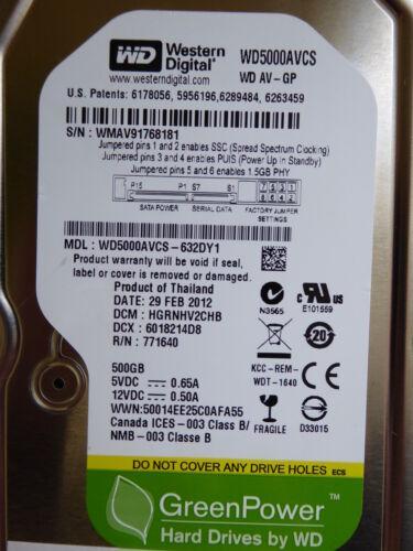 1 von 1 - Western Digital WD5000AVCS-632DY1   DCM: HGRNHV2CHB   29 FEB 2012   500 GB #01