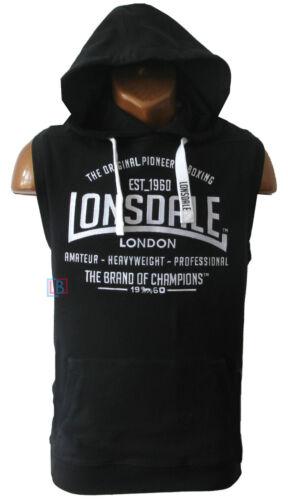 Lonsdale Hoodie Black Sleeveless Hoody Gym Training top Sizes S M L XL XXL