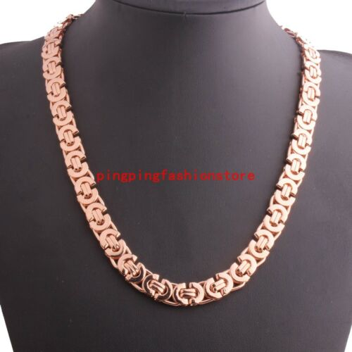 6//8//11mm Mens Womens Jewelry Rose Gold Stainless Steel Byzantine Chain Necklace
