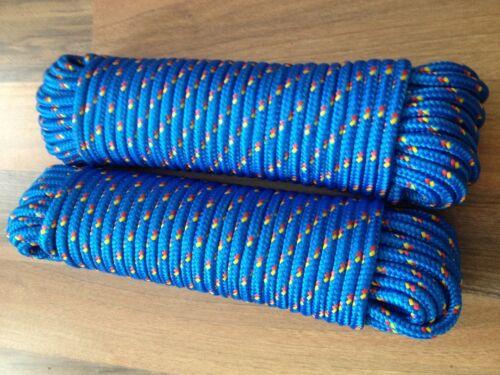 Nr.9 Polypropylen Flechtleine 8 mm x 30m,Tau,Bänder,Expanderseil,Planenseil,Blau