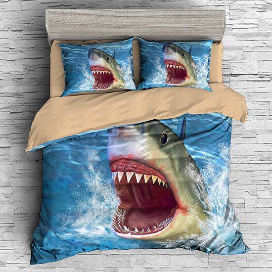 3D Sea Shark Kids Duvet Cover Bedding Set Animal Quilt Cover Set Pillowcase Gift