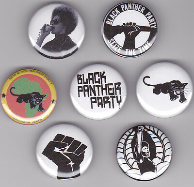 Black Panther Party Movement Set of 7 Pinback Buttons