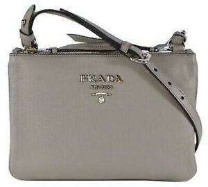 Prada-Women-039-s-Gray-Vitello-Phenix-Crossbody-Handbag-1BH046