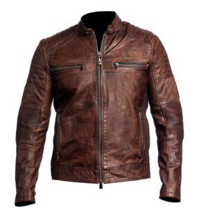 motocicleta envejecida oveja Chaqueta marrón para nueva piel de cuero de de real motera qwPwU6pz