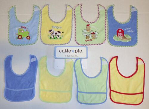 Cutie Pie 8 Pack Terry Baby Feeding Drool Bibs Boys Blue Yellow Farm Cotton NEW