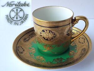 Mocha-Coffee-Cup-Saucer-Naritake-Japan-Gold-Decor-Um-1920-6332ft573
