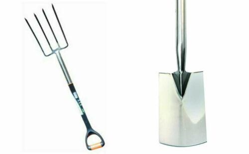Stainless Steel Garden Hand Tools Fork Spade Digging Border Gardening Heavy Duty