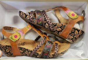 L-039-Artiste-by-Spring-Step-Women-039-s-Acateia-T-Strap-Sandal-Camel-Multi-Size-6-5-7