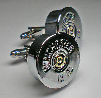 20 Gauge Winchester Nickel Shotgun Bullet Head Cufflinks Wedding Cufflinks Groom