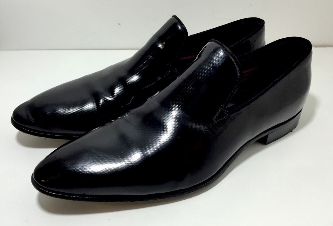 HUGO BOSS Black High Gloss Patent Leather Loafers Slip On Shoes 6.5 / 40.5