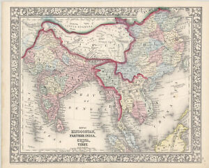 """1863 S.A. Mitchell """"Map of Hindustan, Farther India, China and Tibet"""""""
