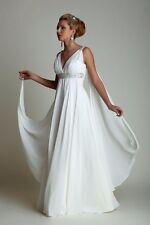 High Waist Greek Style Beach Maternity Wedding Dresses with Watteau Train