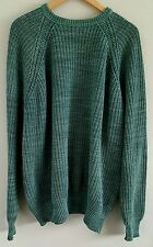Vintage L.L. Bean Men's Sweater XL Tall Fisherman's Rib Knit 100% Cotton Green