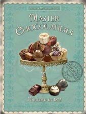 Master Chocolatiers Vintage Küche Café Schokolade Essen Klein Metall/