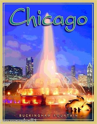 Chicago Illinois Buckingham Fountain United States Travel Poster Advertisement