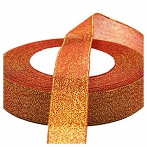 22-Metres-25mm-Double-Sided-Satin-Glitter-Ribbons-Bling-Bows-Reels-Wedding-G6J8