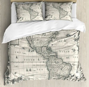 Details about World Map Duvet Cover Set with Pillow Shams Retro Old America  Map Print