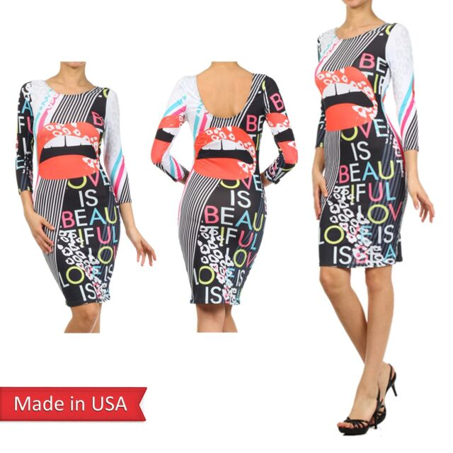 Summer Sexy Trendy Hot Bodycon Pencil Fitted Lips LOVE Color Print Midi Dress US