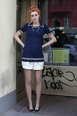 Bello Top Da Donna Courtelle Blue Top Bianco White Marine 70er True Vintage 70´s Women-mostra Il Titolo Originale