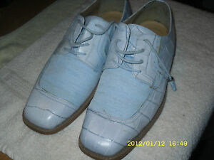 Donato Marrone 10  Baby Blue Oxfords Lace up Leather Upper Pre-owned