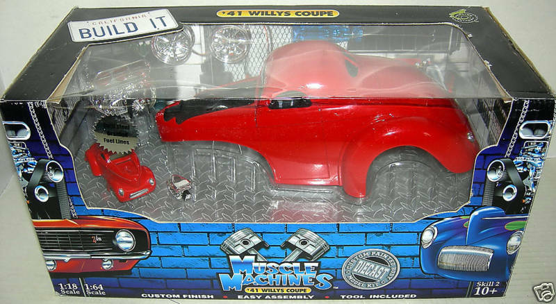 41 WILLYS COUPE IN Dark röd BUILD KIT.MUS.MAC.1 18 MIB
