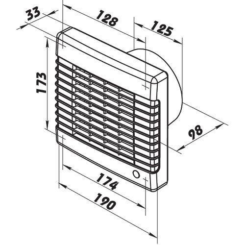 Badlüfter piccolo spazio Ventilatore Muro Ventilatore Ventola casa vents ma ø125mm 9211