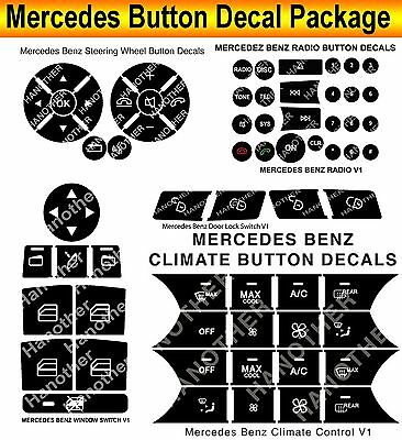 2008-2014 MERCEDES C250=C300-C350-W204 BUTTON DECALS RADIO A/C STEERING LOCKS