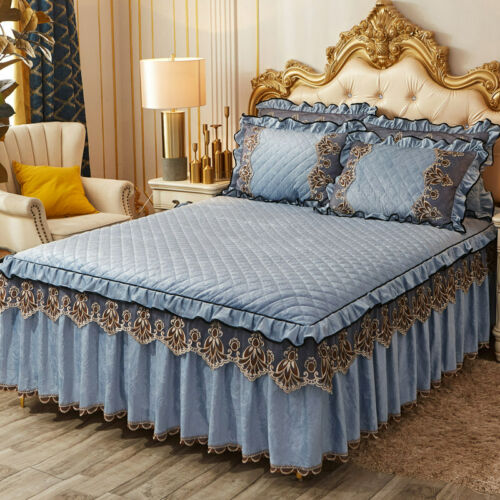Luxury Blue Lace Embossed Velvet Bedspread Quilted King Coverlet Bed Skirt Cover