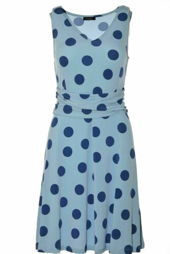Vivance Collection Damen Kleid A-Linie Sommerkleid DOTS Hellblau Blau NEU