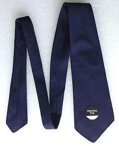 Vintage-1950-S-TOOTAL-Tie-Plain-Bleu-Marine-Inutilise-Rouge-Qualite-tebilized-Coton